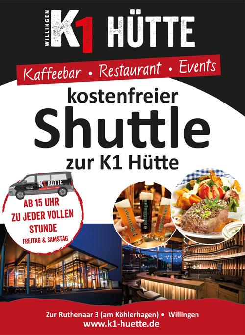 Kostenfreier Shuttleservice K1-Hütte